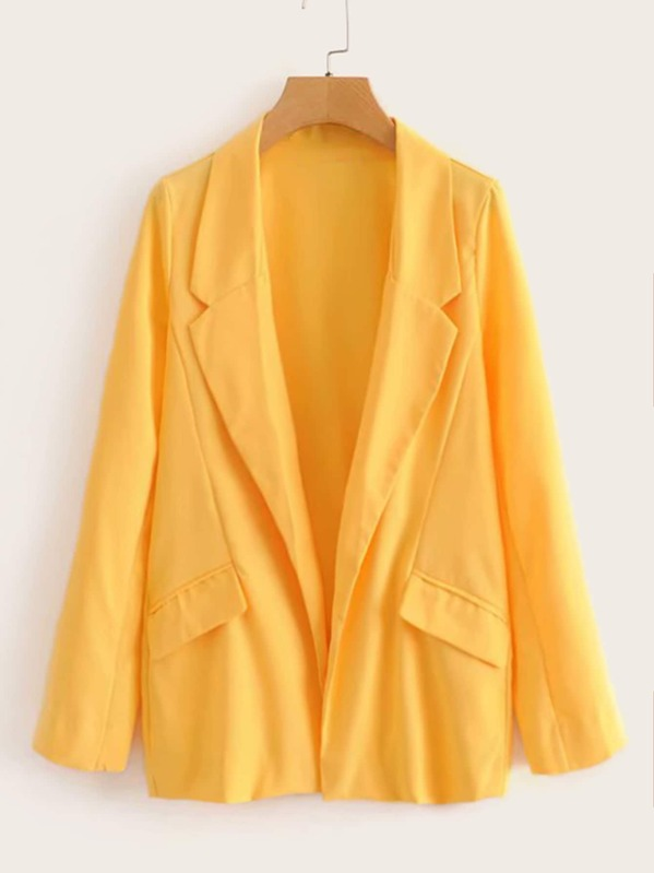 Solid Open Front Notched Blazer