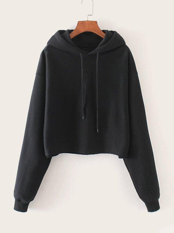 Solid Drawstring Hooded Sweatshirt