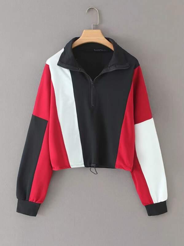 Half Zip Drawstring Sweatshirt