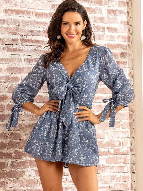 SBetro Floral Bow Front Knotted Sleeve Keyhole Back Romper