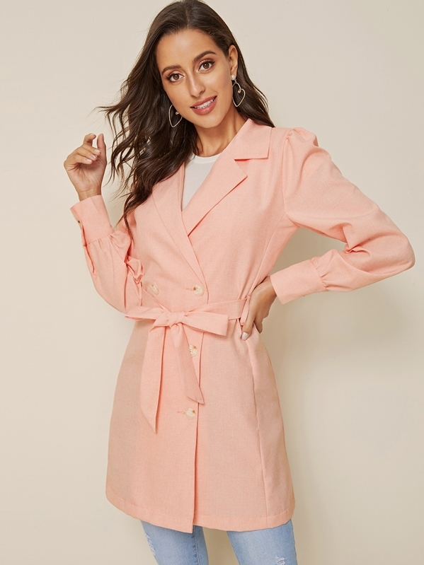 Notched Collar Self Tie Pea Coat, Mary P.
