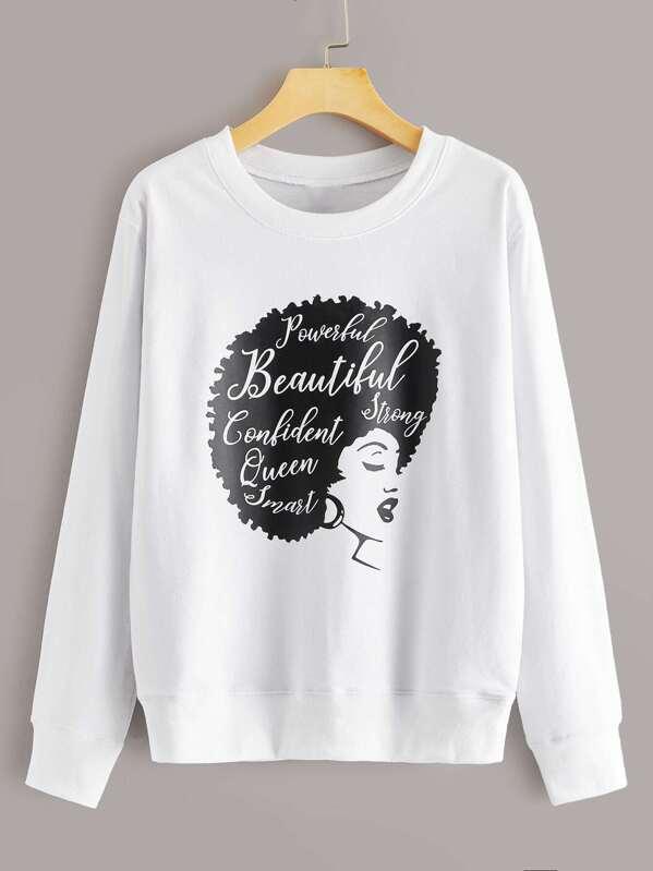 Letter And Figure Print Sweatshirt