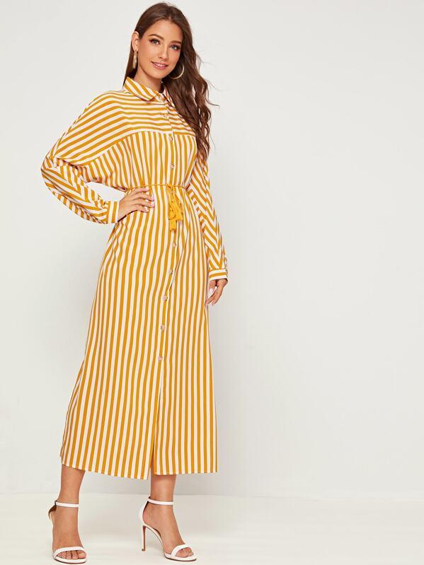 Striped Split Side Tassel Detail Shirt Dress, Debi Cruz