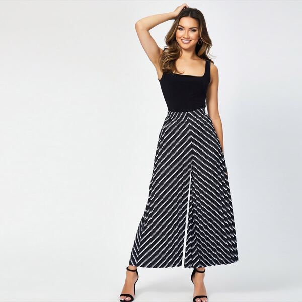 Elastic Waist Striped Wide Leg Pleated Pants