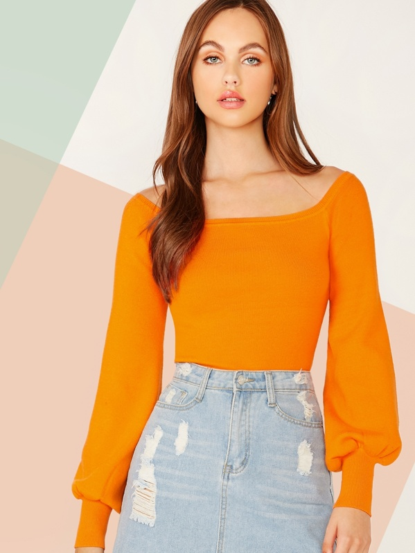 Neon Orange Off Shoulder Crop Sweater, Lily Easton