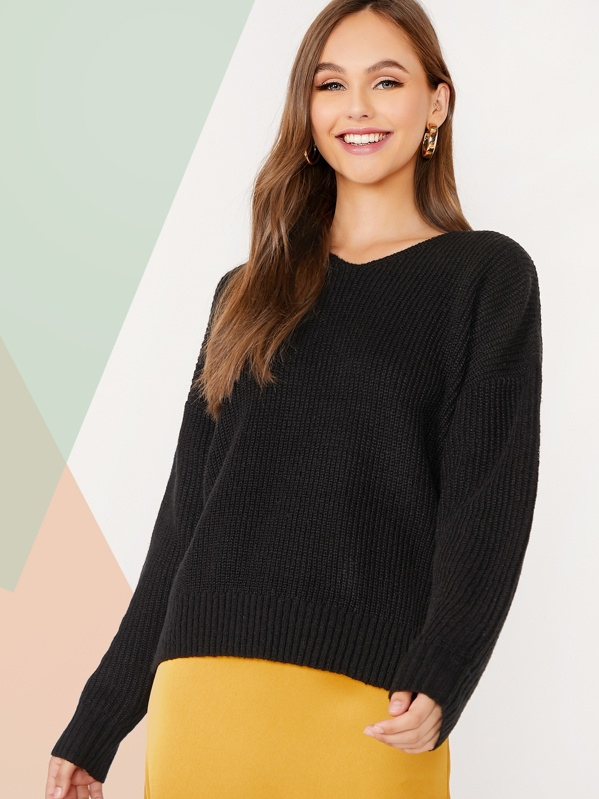 Solid Drop Shoulder Sweater, Lily Easton