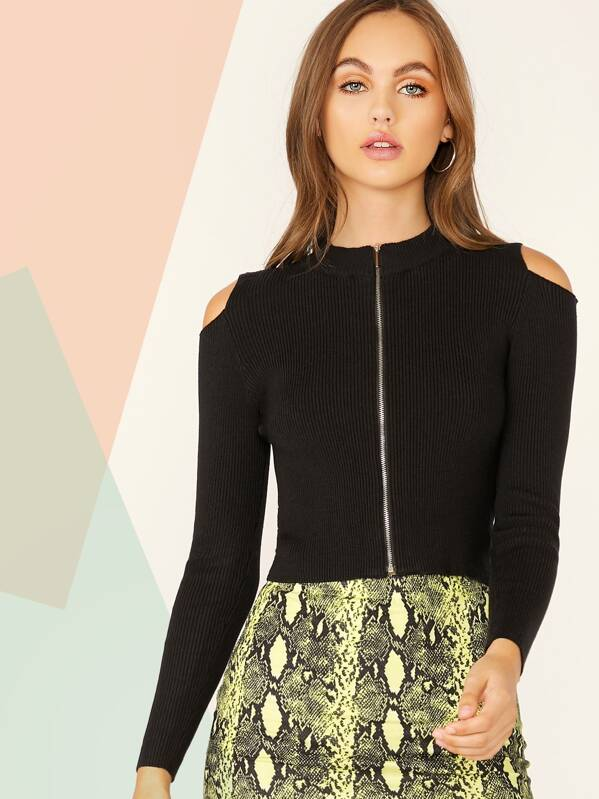 Solid Cold Shoulder Zip Front Rib-knit Knit Top, Lily Easton