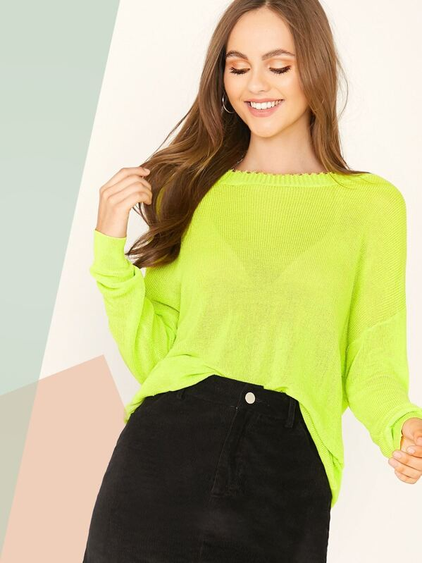 Neon Green Drop Shoulder Sweater, Lily Easton