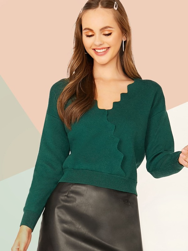 Drop Shoulder Scallop Trim Wrap Sweater, Lily Easton