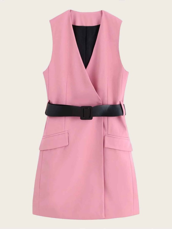 Belted Flap Pocket Vest Blazer Dress