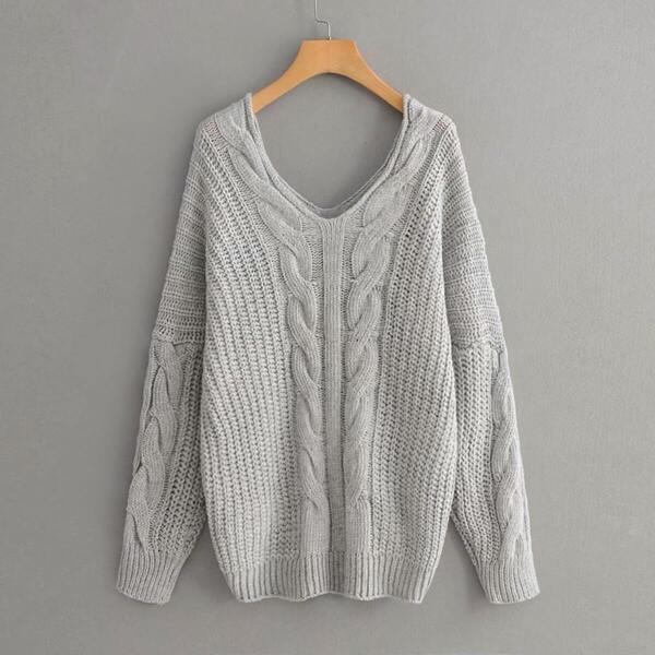 V Neck Drop Shoulder Cable Knit Sweater