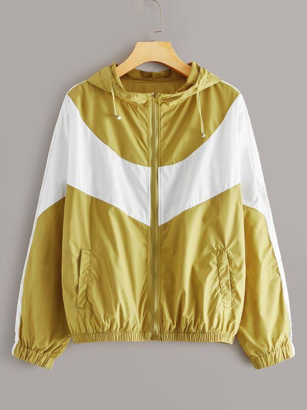 Contrast Panel Drawstring Windbreak Hooded Jacket