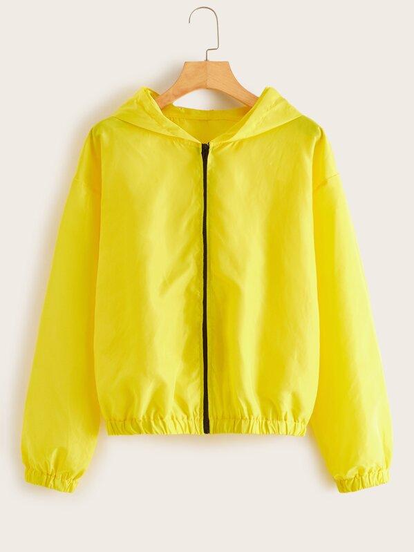 Zip Up Drop Shoulder Windbreak Hooded Jacket