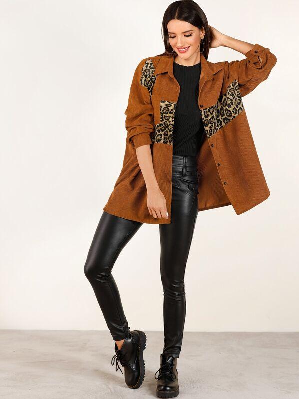 Contrast Leopard Print Corduroy Coat, Juliana