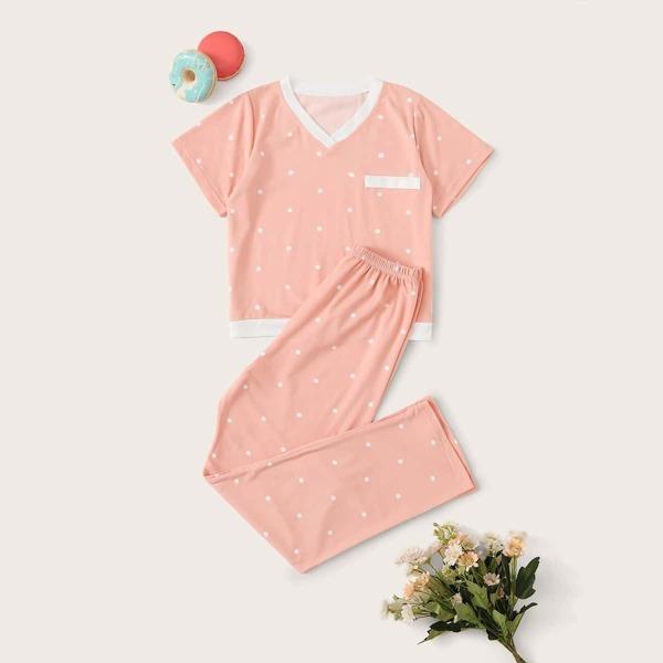 Girls Polka Dot Pajama Set, Pink