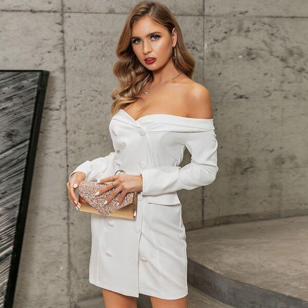 Glamaker Off Shoulder Double Breasted Belted Blazer Dress, White
