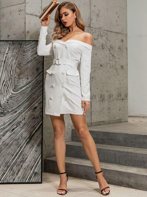 GLAMAKER Off Shoulder Double Breasted Belted Blazer Dress