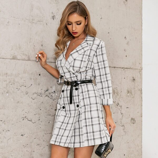 GLAMAKER Plaid Double Breasted Blazer Dress Without Belted