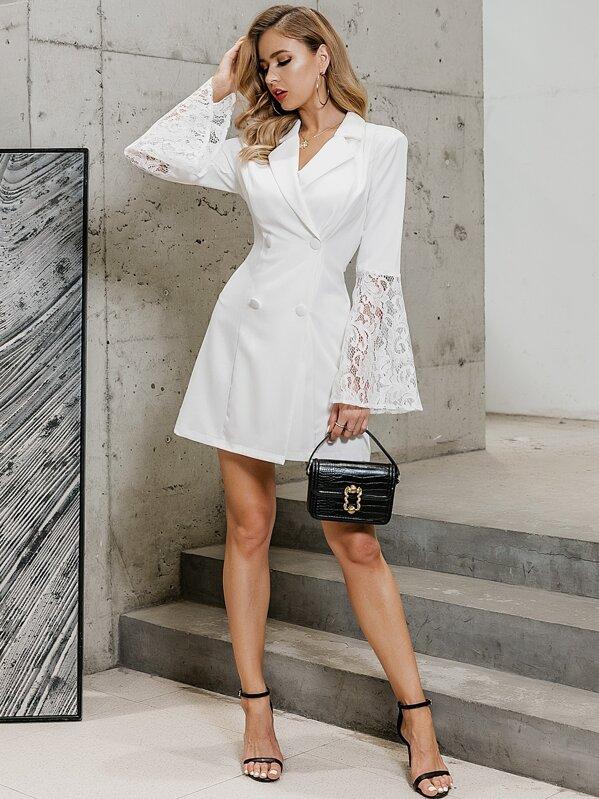 GLAMAKER Double Breasted Lace Insert Blazer Dress