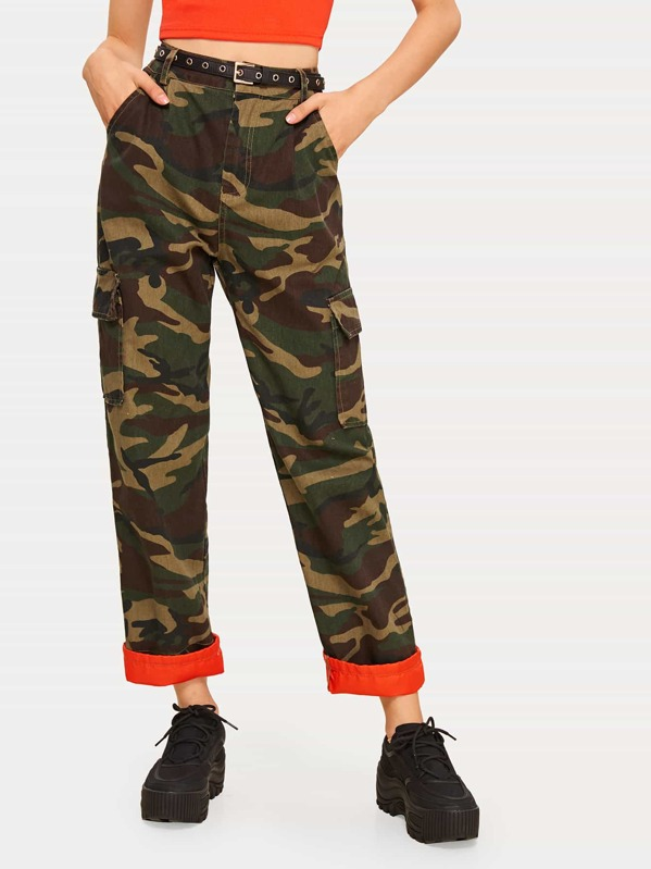 Camo Print Rolled Hem Jeans Without Belted, Marta