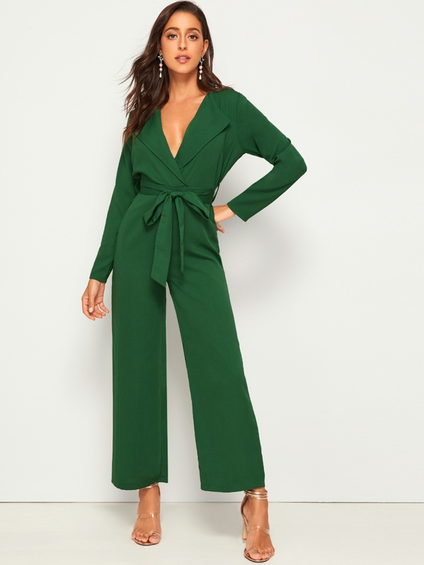 Self Tie Waterfall Neck Wide Leg Jumpsuit, Mary P.