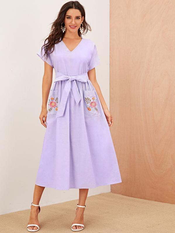 Embroidered Botanical Pocket Front Self Belted Dress, Juliana