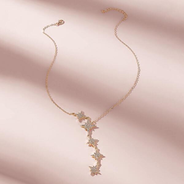 Rhinestone Eight-pointed Star Decor Lariat Necklace 1pc