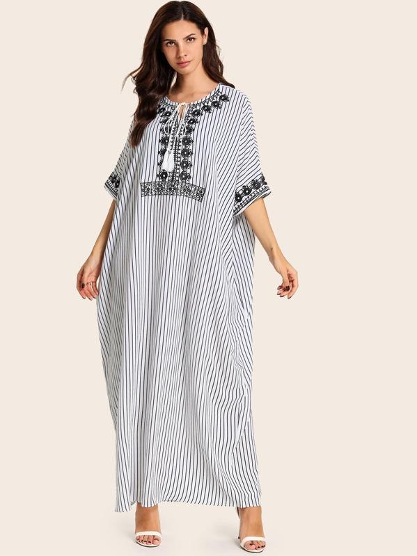 Embroidery Drawstring Striped Tunic Dress, Anna CH