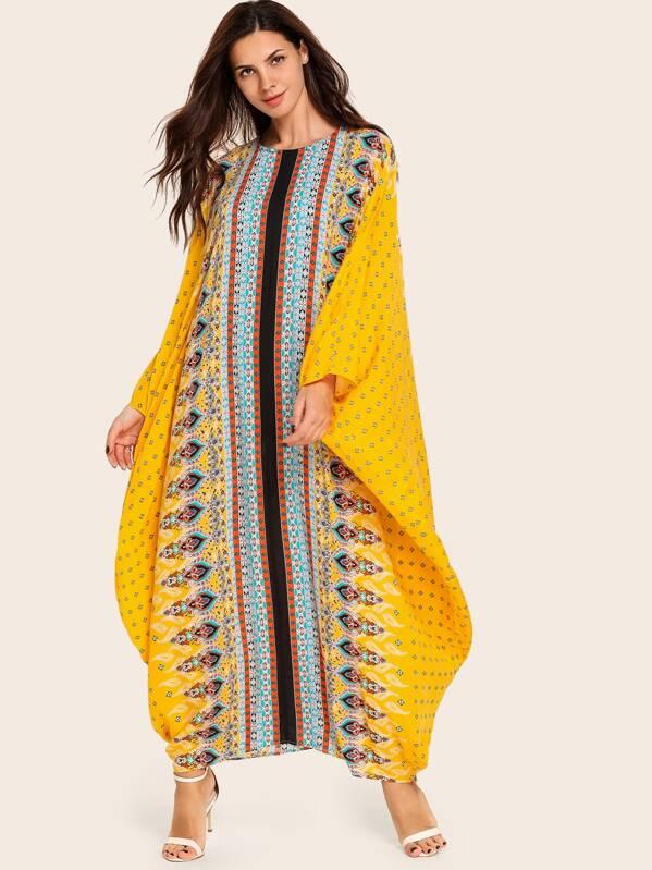 Tribal Print Loose Tunic Dress, Anna CH