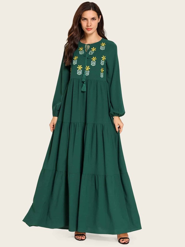 Embroidery Drawstring Ruffle Hem Dress, Anna CH