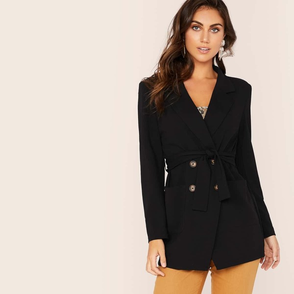 Notch Collar Double Breasted Belted Blazer