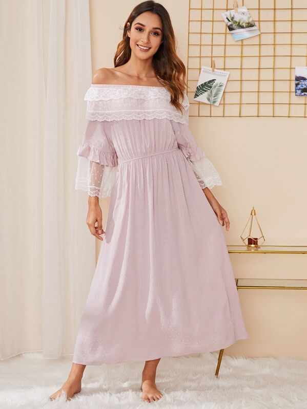 Floral Lace Dobby Mesh Bardot Night Dress, Gabi B