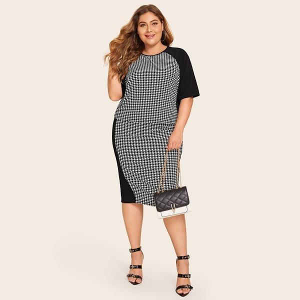 Plus Raglan Sleeve Houndstooth Top & Pencil Skirt Set