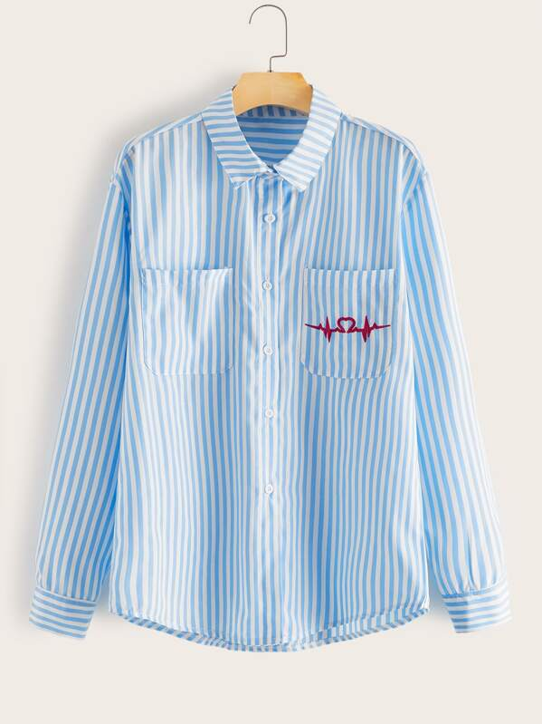 Guys Striped Pocket Front Shirt