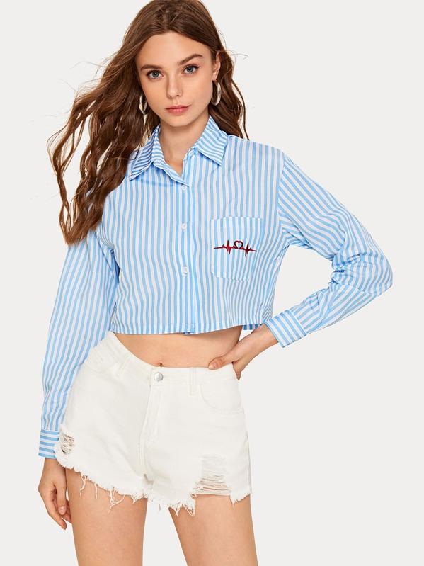 Striped Pocket Front Blouse, Aleksandra J