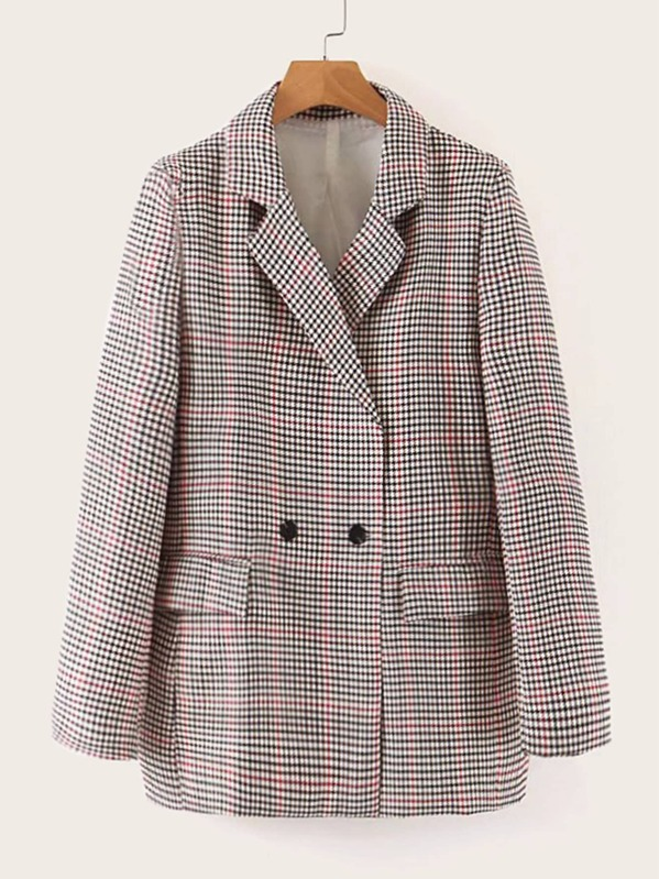 Houndstooth Double Button Notched Blazer