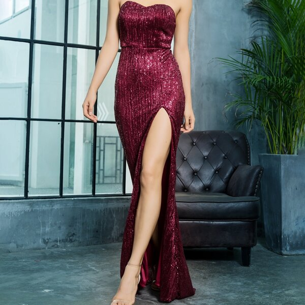 LOVE&LEMONADE Split Thigh Floor Length Sequin Tube Dress, Burgundy