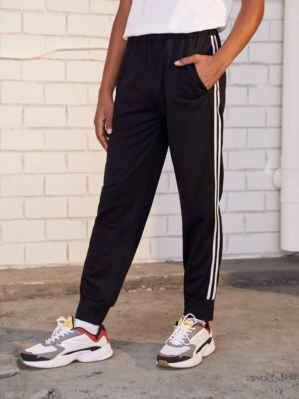 Guys Side Stripe Elastic Waist Sweatpants