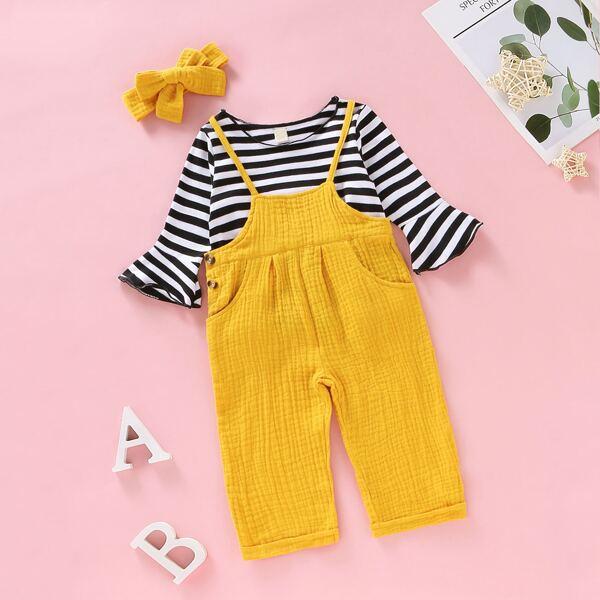 Baby Girl Stripe Tee & Pinafore Pants
