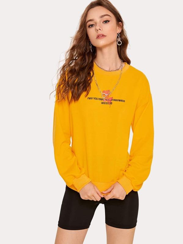 Drop Shoulder Letter And Rose Print Sweatshirt, Aleksandra J
