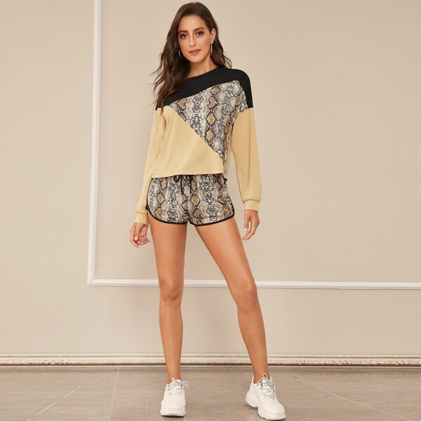 Snakeskin Print Cut-and-sew Top & Dolphin Shorts Set
