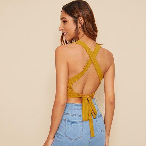 Criss-cross Tie Back Rib-knit Top