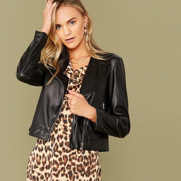 Zipper Fly Waterfall Collar PU Leather Jacket