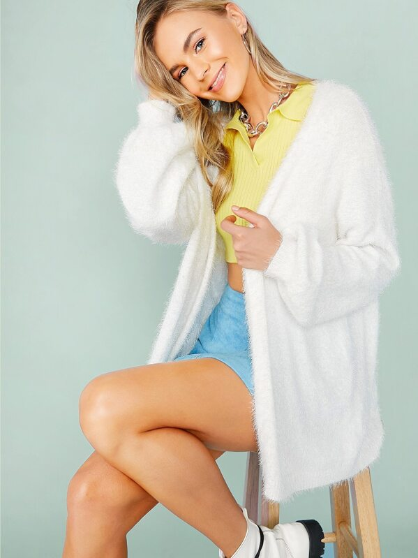 Open Front Lantern Sleeve Solid Cardigan, Mila Mary