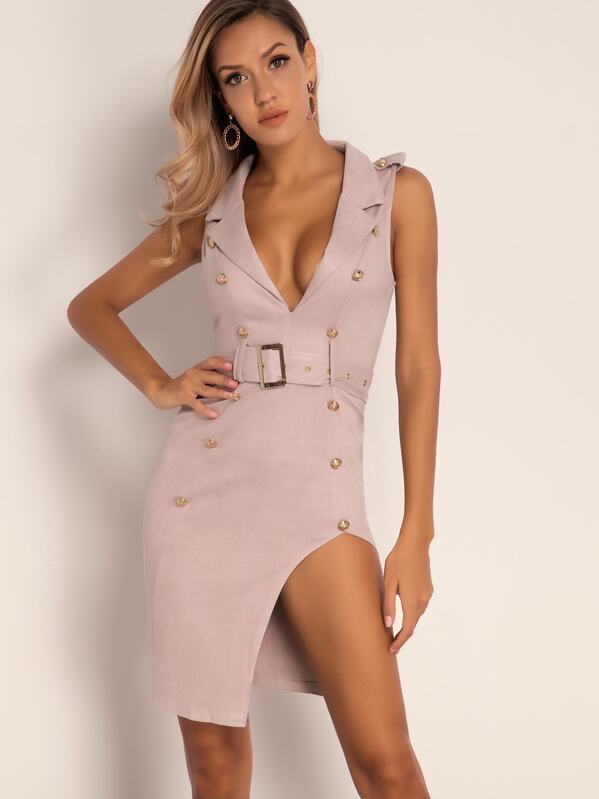Joyfunear Plunge Neck Split Hem Belted Blazer Dress