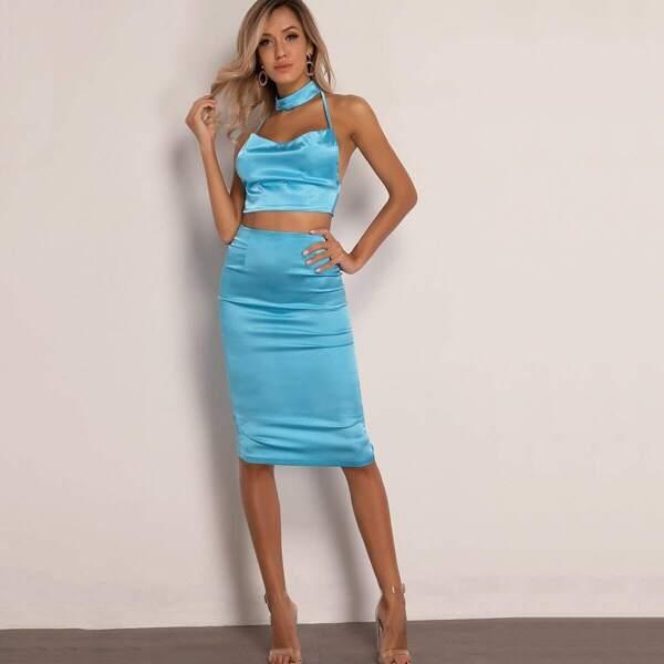 Joyfunear Tie Back Halter Satin Top & Split Hem Skirt Set