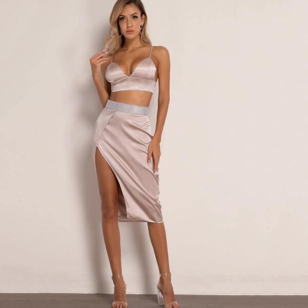 Joyfunear Zip Back Satin Cami Top & Split Thigh Skirt Set