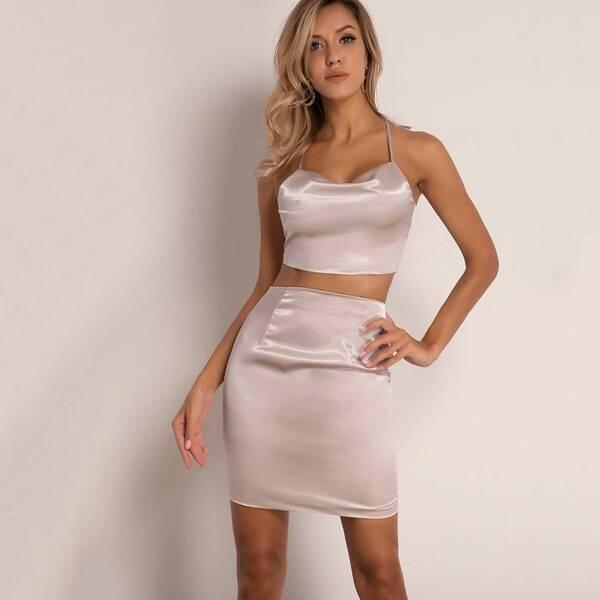 Joyfunear Tie Back Halter Satin Top & Zip Back Skirt Set