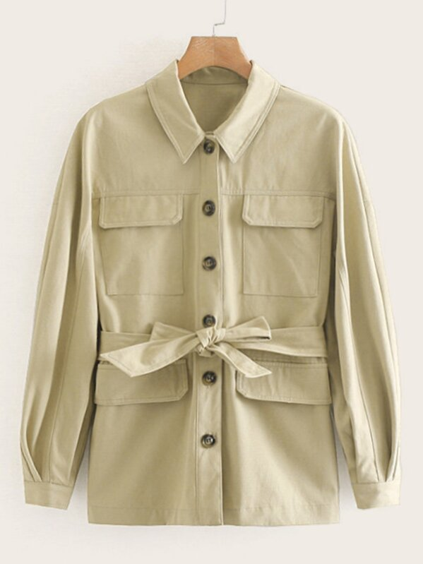 Button Through Pocket Belted Unity Coat
