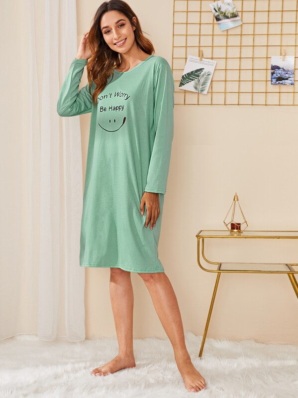 Smile & Letter Print Night Dress, Gabi B